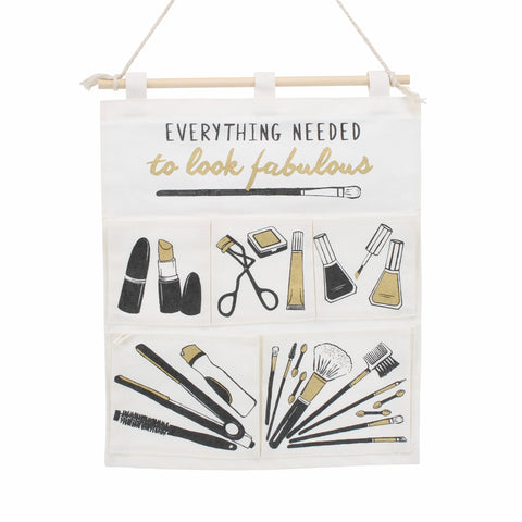 Pretty canvas make up tidy with 4 pockets and slogan Everything Needed to Look Fabulous