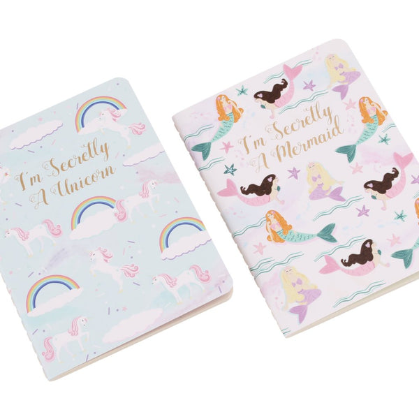 2 x A6 paperback notebooks with slogans mermaid and unicorn designs