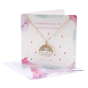 Pretty rainbow necklace with slogan Don't Quit Your Daydreams on card (with envelope)