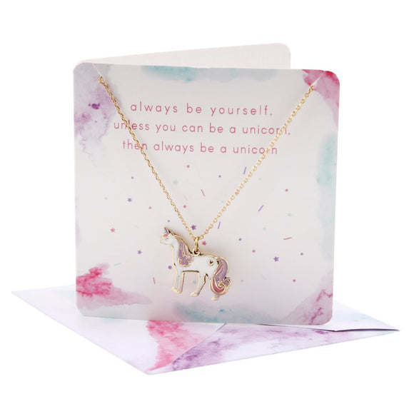 Pretty unicorn necklace on card (with envelope)