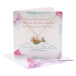 Pretty mermaid necklace on card (with envelope)