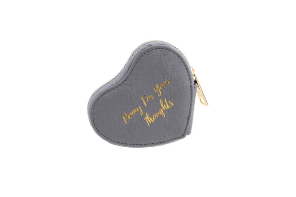 Grey Penny for Thoughts Heart Purse