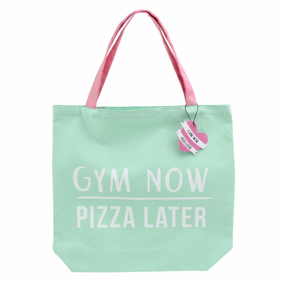 Green canvas shopping bag featuring slogan Gym now, pizza later