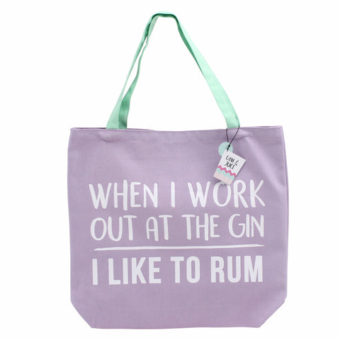 Purple canvas shopping bag featuring slogan When I go to the gin, I like to rum