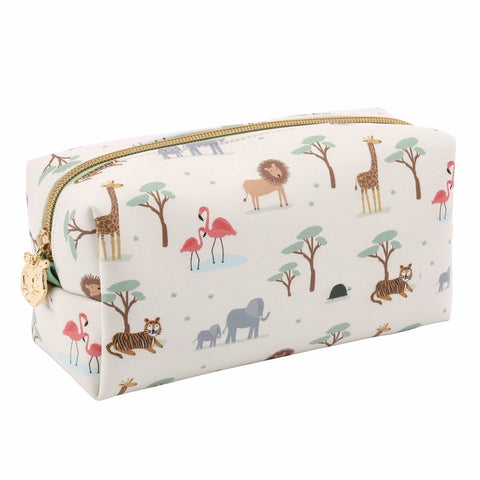 Cute animal little tribe safari print make up bag.