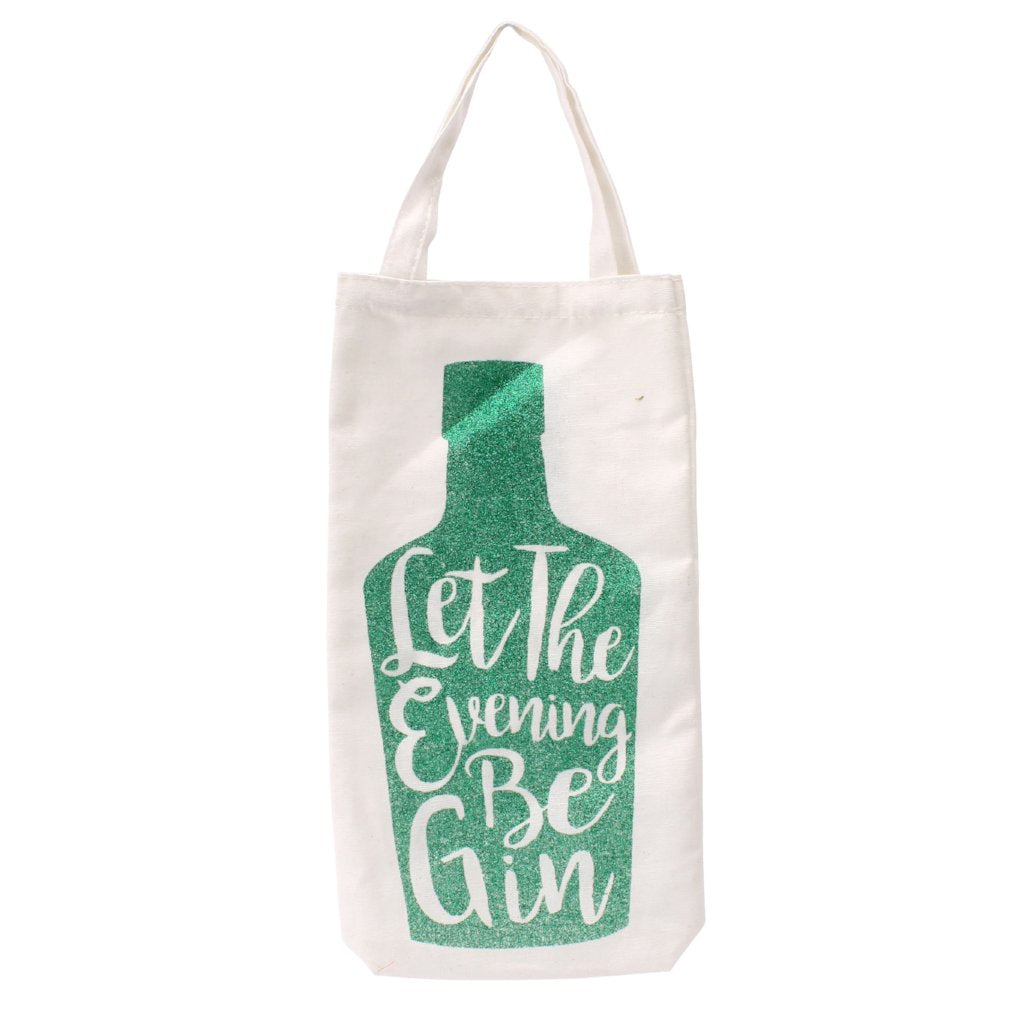 White canvas bottle bag featuring green glitter slogan Let the Evening Be Gin