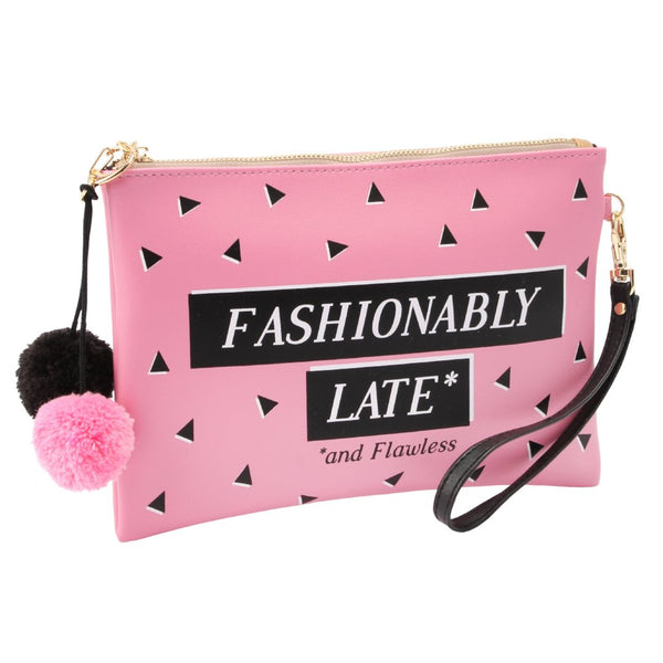 Pink Fashionably Late Make Up Bag with pom pom detail