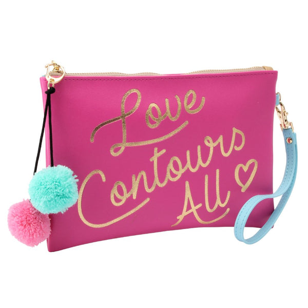 Pink Love Contours All Make Up Bag with pom pom detail