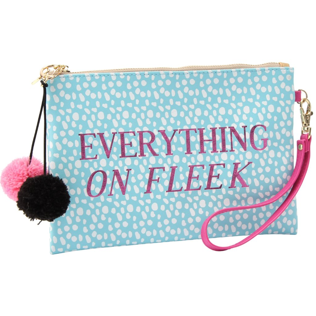 Blue Everything on Fleek Make Up Bag with pom pom detail