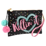 Black Killin' It Make Up Bag with pom pom detail