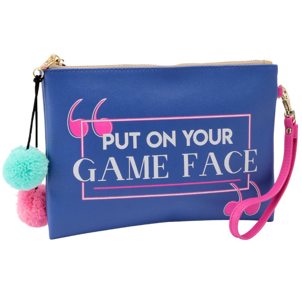 Blue Put on Your Game Face Make Up Bag with pom pom detail