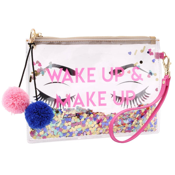Transparent Wake Up Make Up Bag with pom pom detail