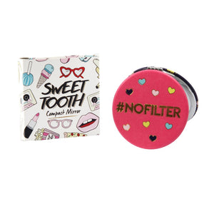 Pink slogan compact mirror featuring the phrase  #NOFILTER