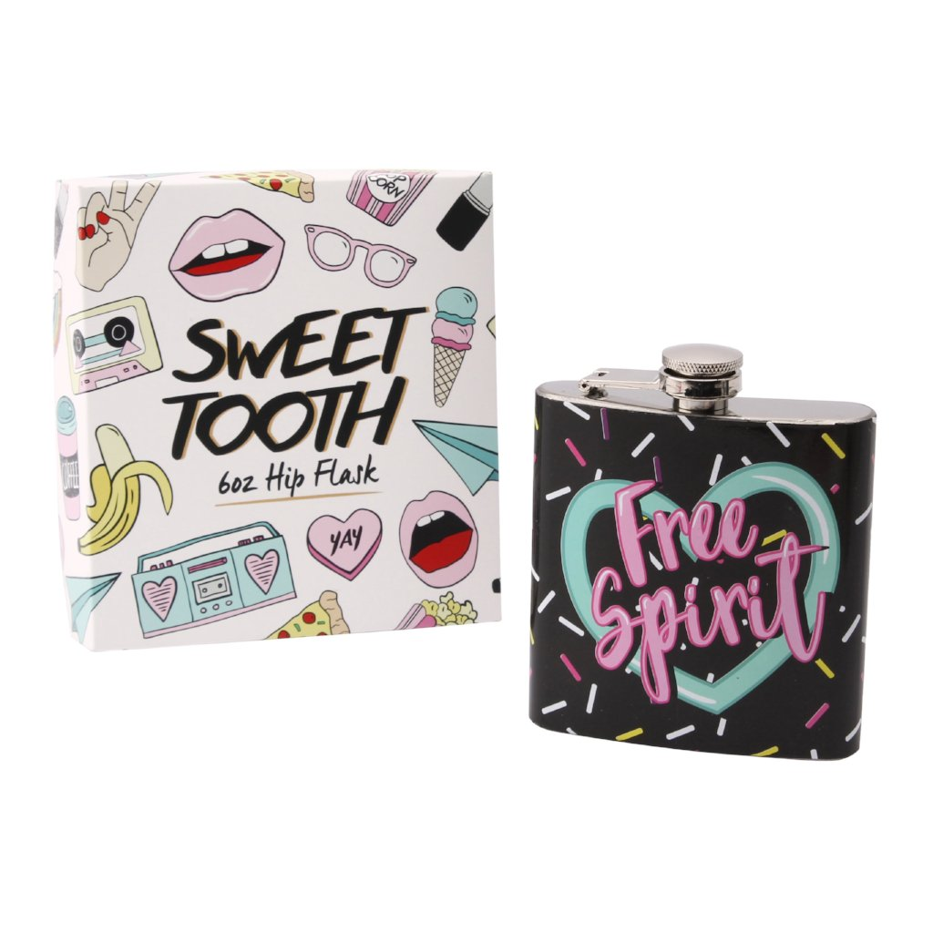 Black fun hip flask with slogan Free Spirit