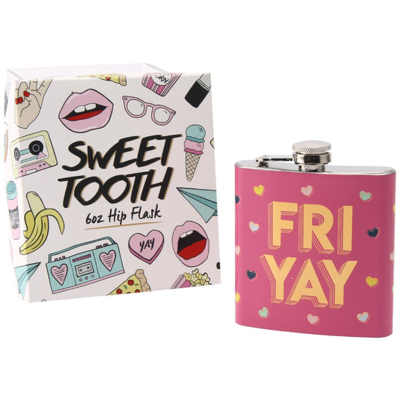 Pink fun hip flask with slogan Fri Yay