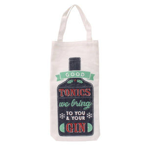 White canvas Christmas bottle bag featuring gin bottle design, and the slogan  Good Tonics We Bring To You and Your Gin