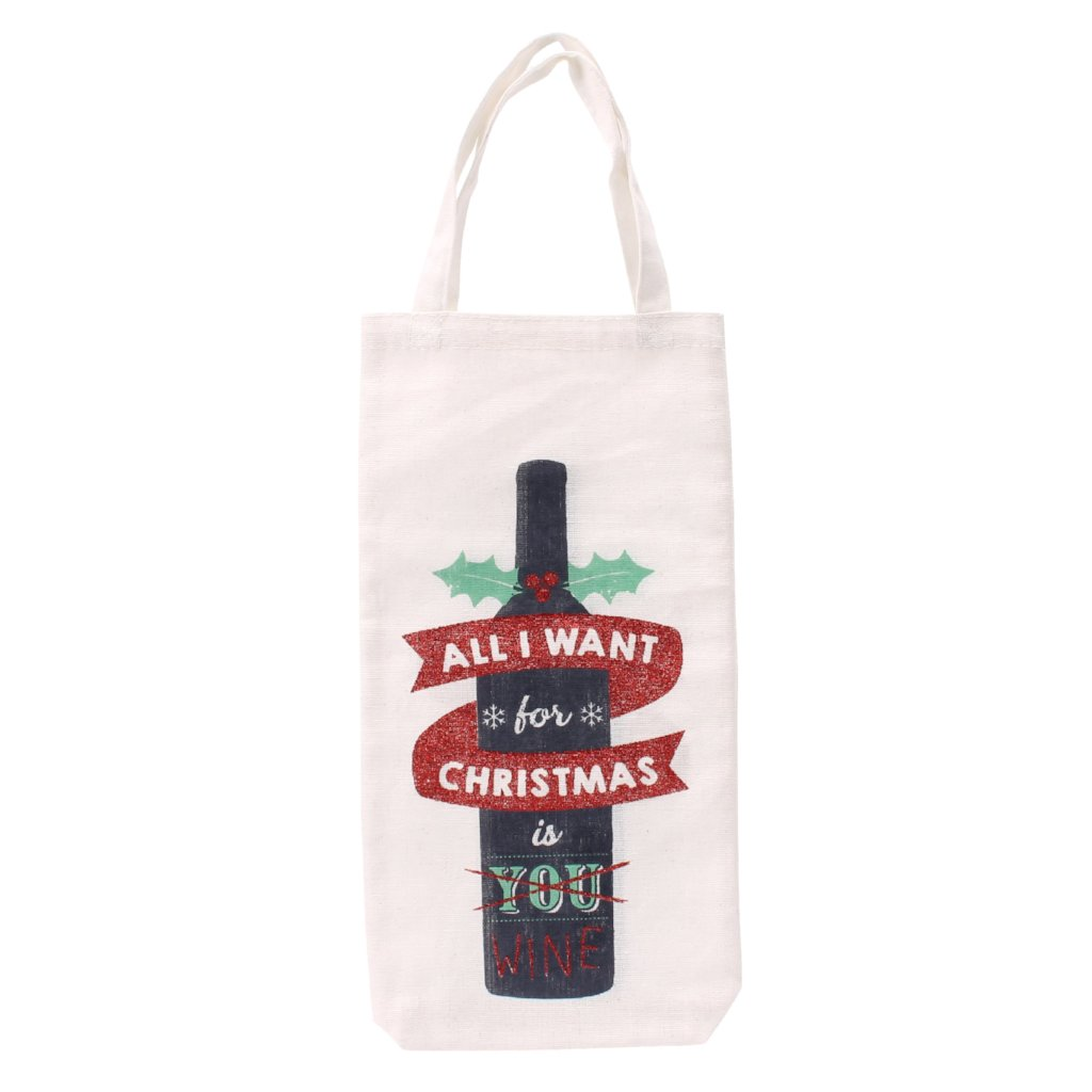 White canvas Christmas bottle bag featuring wine bottle design, and the slogan All I Want for Christmas is You... Wine