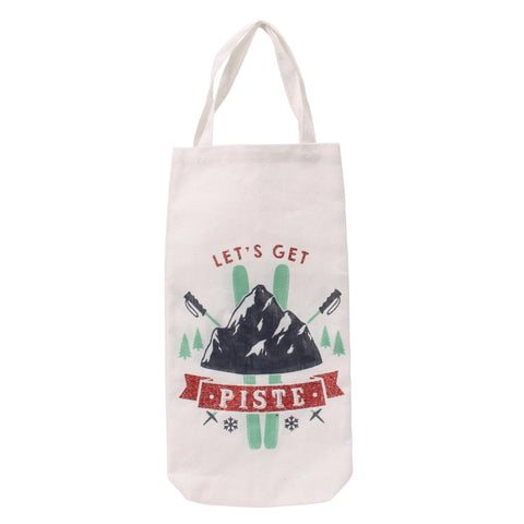 White canvas Christmas bottle bag featuring ski design, and the slogan Let's Get Piste