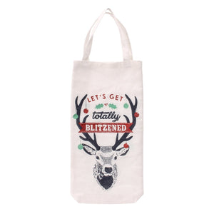 White canvas Christmas bottle bag featuring reindeer design, and the slogan Let's Get Totally Blitzened