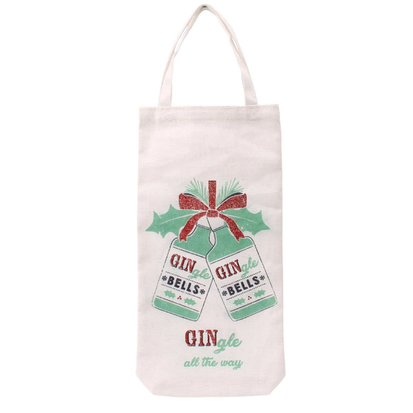 White canvas Christmas bottle bag featuring gingle bells design, and the slogan Gingle all the way