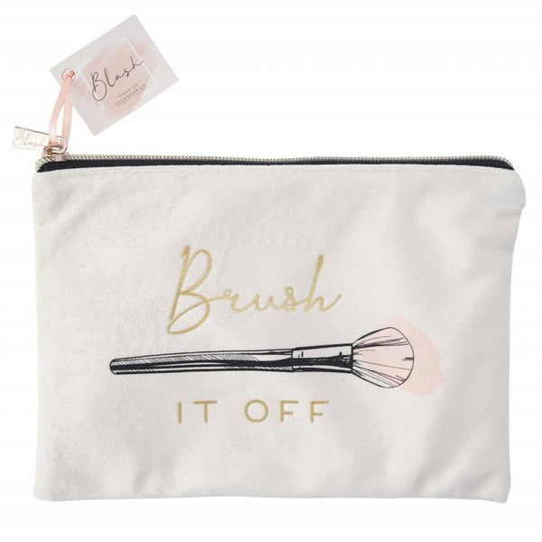 Lovely make up brush design make up bag featuring the phrase Brush It Off