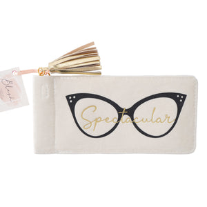 Fun spectacle case with black glasses design, and the word 'Spectacular' in gold. Finished with a gold tassel.