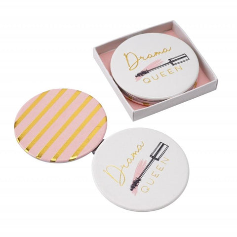 Drama Queen pretty compact mirror, with mascara wand detail and gold and pink striped reverse.