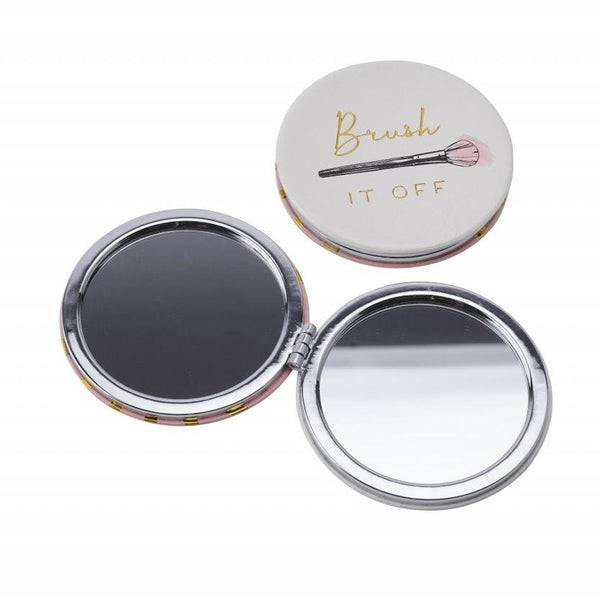 Brush it off pretty compact mirror, with make up brush detail and gold and pink striped reverse.