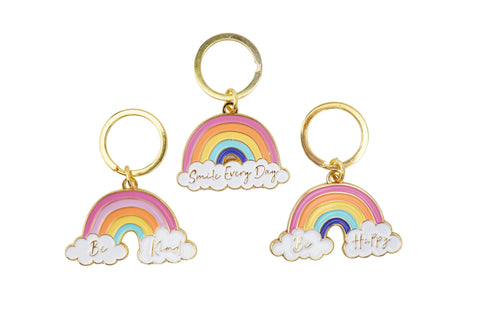 Pretty rainbow keyring with choice of slogans