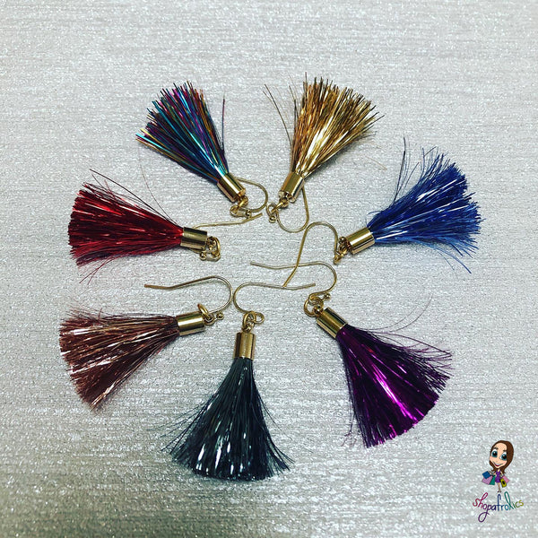 Varied colours of tassel earrings