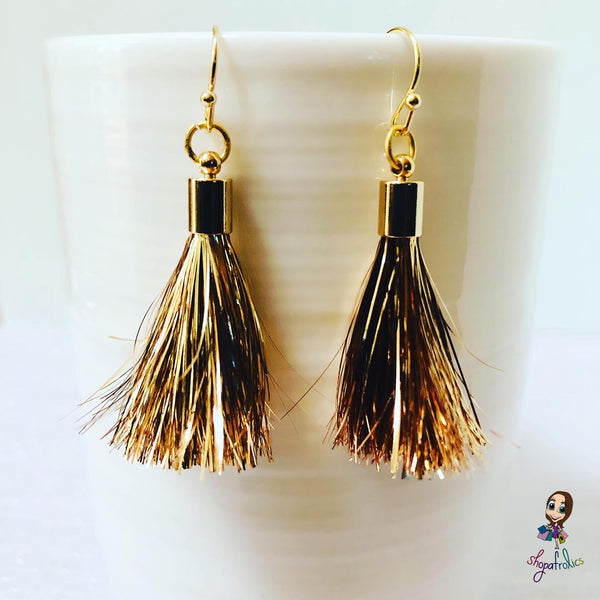 Gold Tinsel Tassel Drop Earrings