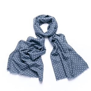 Grey ditsy heart printed scarf with feathered edge