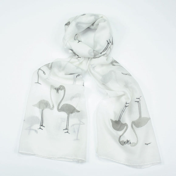 Funky grey flamingo design on a white background printed scarf.