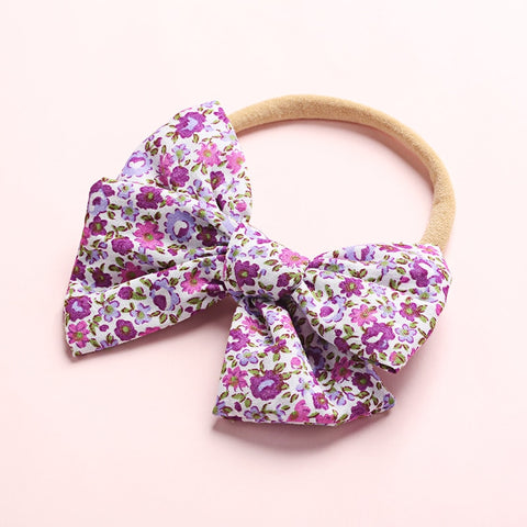 Floral Baby Bow Headband - choice of colours