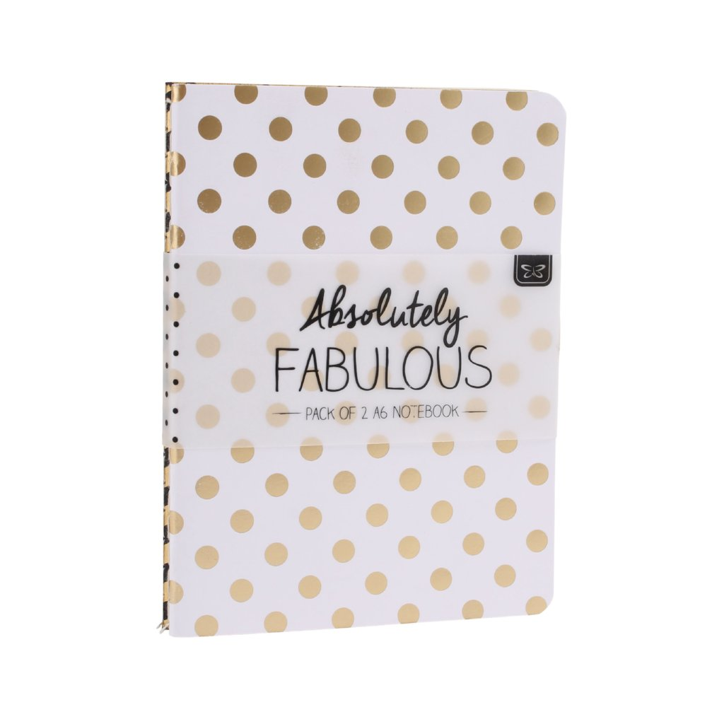 2 x A6 gold foil notebooks in zig zag & spot designs