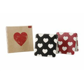 Choice of red or black heart print compact square mirrors in gift box.