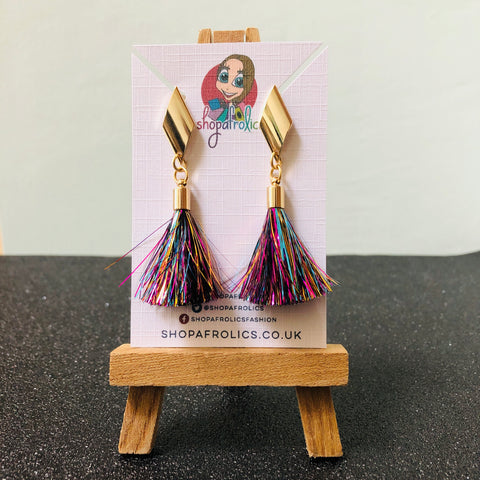 Rhombus and Rainbow Tinsel Drop Earrings