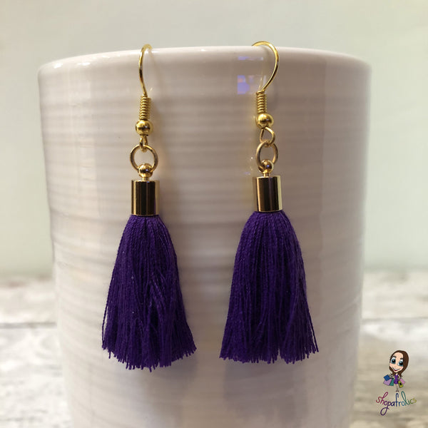 Purple Cotton Tassel Earring with gold plated ear hooks, and findings.