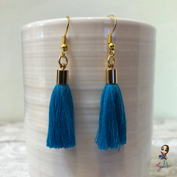 Blue Cotton Tassel Earring with gold plated ear hooks, and findings.
