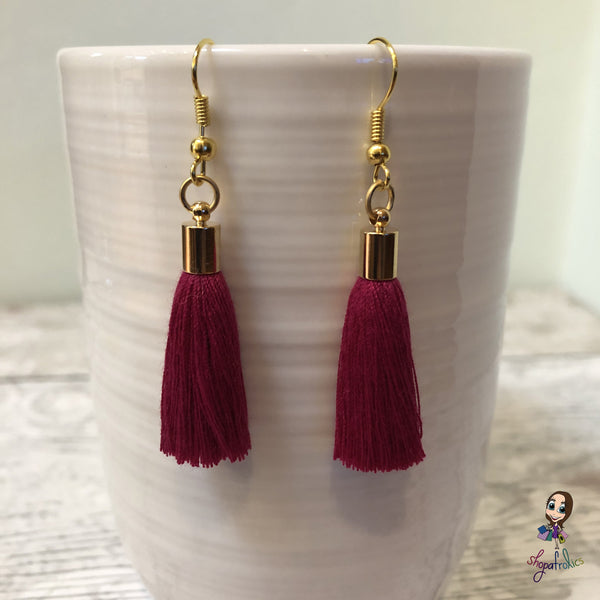 Burgundy Cotton Tassel Earring with gold plated ear hooks, and findings.