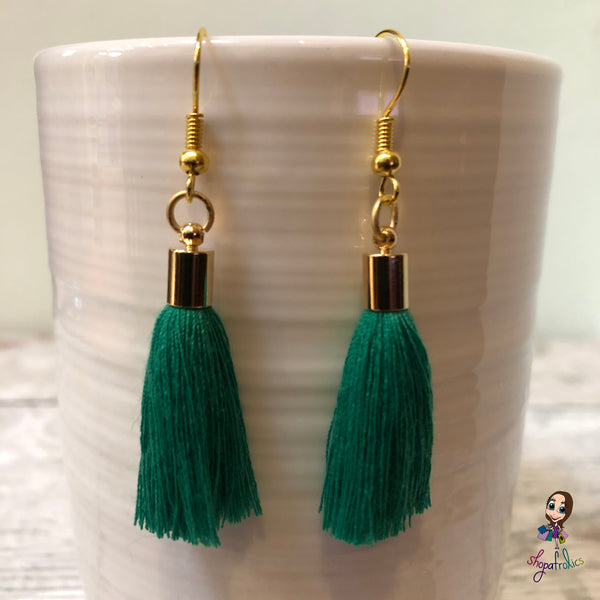 Green Cotton Tassel Earring with gold plated ear hooks, and findings.