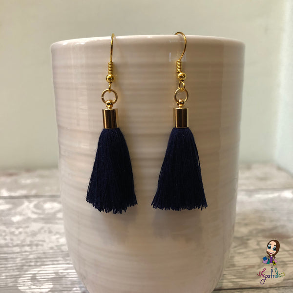 Navy Cotton Tassel Earring with gold plated ear hooks, and findings.