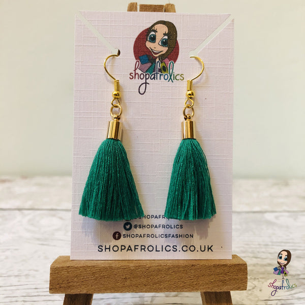 Emerald Green Cotton Tassel Earring with gold plated ear hooks, and findings. on backing card