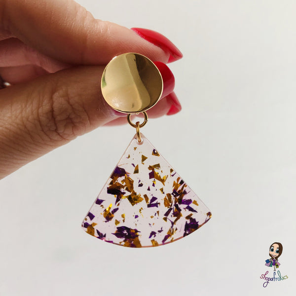 A gold and purple confetti effect, in a clear fan adds the statement to these drop earrings