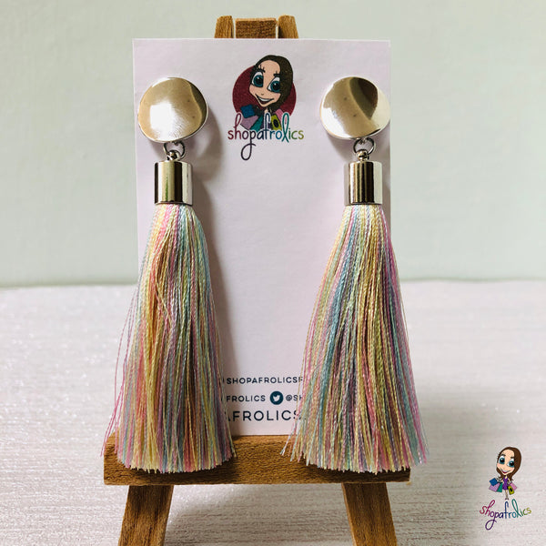 Pastel Rainbow Tassel and Gold Disc Stud Earrings