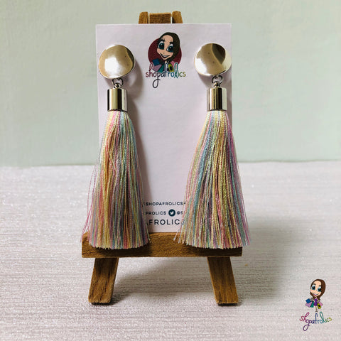 Pretty pastel coloured rainbow tassels are the centre-piece of these pretty earrings.
