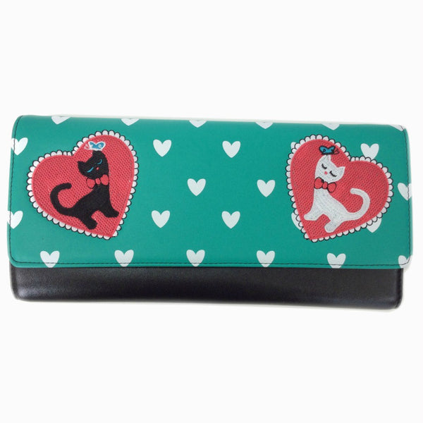 Pretty green clutch bag with cat motif and white heart detail