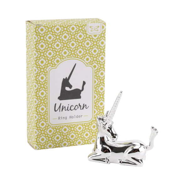 Pretty sitting unicorn silver ring holder with crystal eyes.