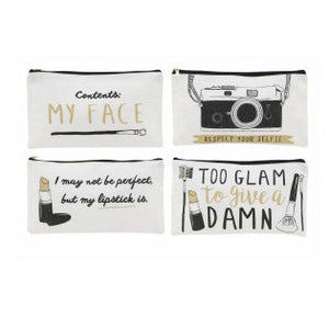 Large Canvas Make Up Bag with choice of slogans