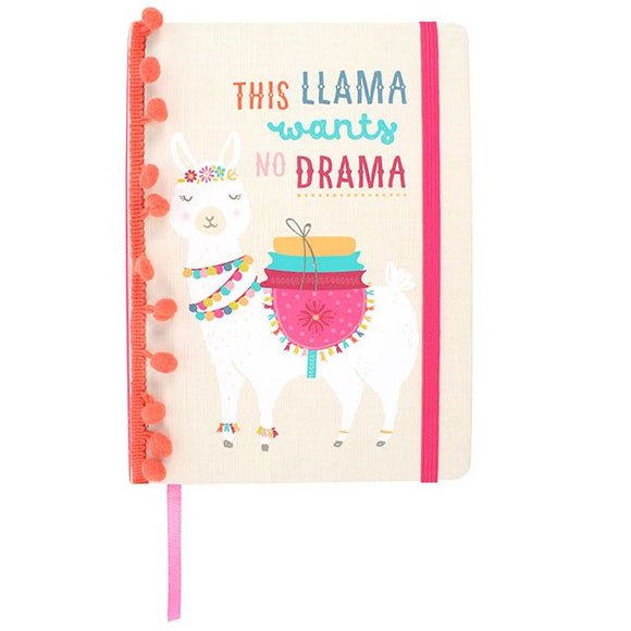 A5 hard cover notebook with fun llama design and slogan: This Llama Wants No Drama
